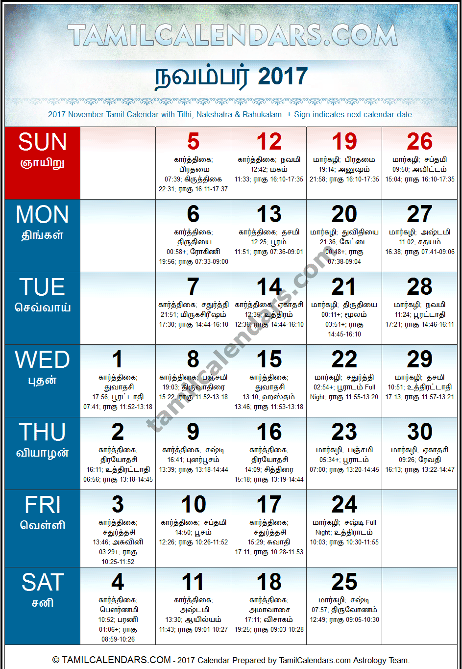 November 2017 Tamil Calendar | Hevilambi Varusham Panchangam ...