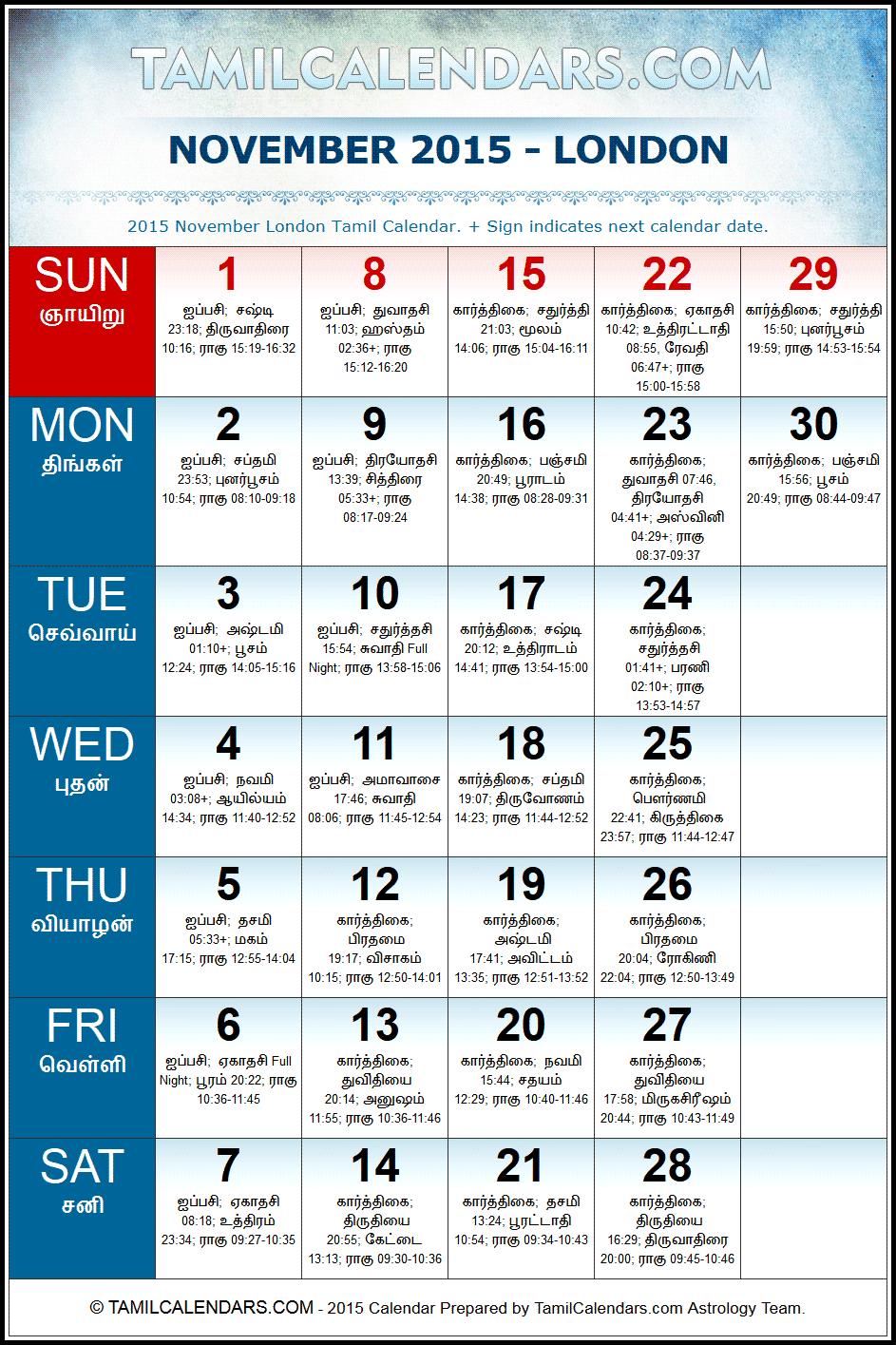 November 2015 London Tamil Calendar | Download UK Tamil Calendars PDF ...